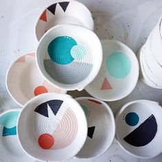 I just love these versatile handmade and hand-painted rope vessels by Gemma Patford. I'm a huge fan of her considered use of colour schemes, textures and resourcefulness.