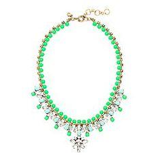 Neon kiwi beaded crystal necklace