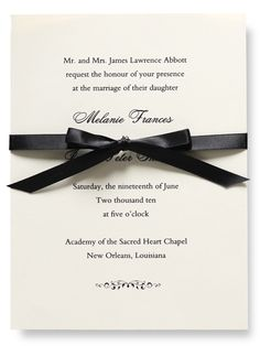 A little ribbon is a nice touch to this traditional invitation from the William Arthur Weddings 1 collection