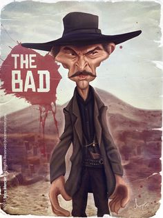 Caricature de Lee Van Cleef par Brice Mercier / Bubble Com.