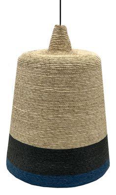 Suspension Flora / Ø 32 cm - Paille tressée main Paille / 2 bandes noir & bleu - Maison Sarah Lavoine - Décoration et mobilier design avec Made in Design