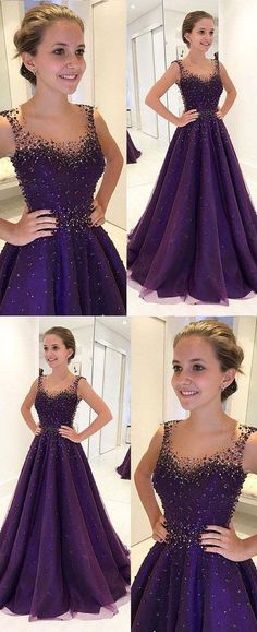 purple prom dresses with beaded, long prom dresses for women B1245