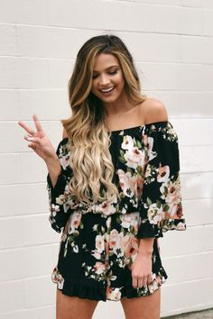 bc635c7db1ce Love Will Remember Floral Romper in Black