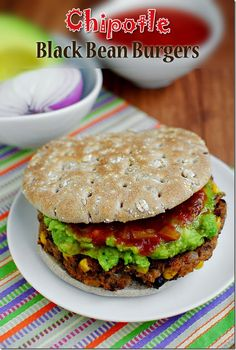 Chipotle Black Bean Burgers. A smoky, delicious vegetarian burger. #dinner #vegetarian