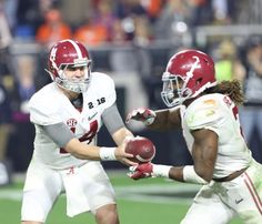 QB Jake Coker hands off to Heisman winner Derrick Henry | No. 2 Alabama beat No. 1 Clemson 45-40 in national championship game on Jan. 11, 2016, in Glendale, Ariz. CW / Layton Dudley and Shelby Akin #Alabama #RollTide #BuiltByBama #Bama #BamaNation #CrimsonTide #RTR #Tide #RammerJammer #NationalChampions