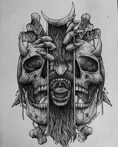 Skull Tattoo Design, Tattoo Design Drawings, Skull Tattoos, Tattoo Sketches, Leg Tattoos, Body Art Tattoos, Art Sketches, Sleeve Tattoos, Tattoo Designs