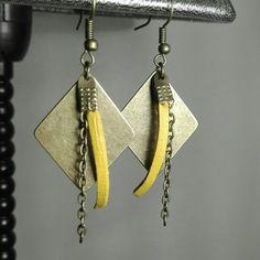Boucles d'oreilles bronze suedine jaune