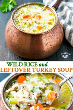 Healthy Recipes This healthy and easy Wild Rice and Leftover Turkey Soup is a simple, wholesome and delicious dinner that takes advantage of your holiday leftovers! Don't have turkey on hand? Use chicken instead! Turkey Wild Rice Soup, Leftover Turkey Soup, Leftover Rice, Turkey Leftovers, Recipes For Leftover Turkey, Thanksgiving Leftovers, Recipe With Leftover Turkey Breast, Thanksgiving Recipes, Easy Turkey Soup