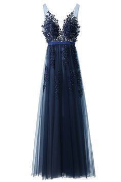 tulle prom dresses, prom dresses, navy prom dresses, navy blue prom dresses, sheer back dresses, prom dress with appliques, long prom dresses