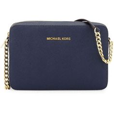 MICHAEL Michael Kors Jet Set Travel Large Crossbody Bag Navy ($148) ❤ liked on Polyvore featuring bags, handbags, shoulder bags, michael kors, purses, navy, crossbody travel purse, navy blue purse, cross body travel purse and michael michael kors handbags