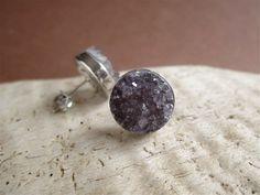 Amethyst Druzy Earrings Drusy Quartz Studs Rhodium Plated Sterling Silver. $88.00, via Etsy.