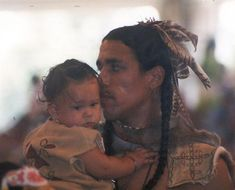 Native American Wampanoag/actor Annowan Weeden and child...beautiful - Mashpee, MA.