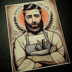 Barber For Life Tattoo Art Print by ParlorTattooPrints on Etsy, $26.00