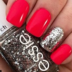 Image via We Heart It #art #beauty #cute #glitter #hands #heart #nails #polish #red #silver #style #want #essie
