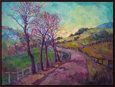 Modern expressionist landscape painting in oil, by contemporary master Erin Hanson. Landscape Art, Landscape Paintings, Jig Saw, Erin Hanson, Modern Impressionism, Painting Inspiration, Street Art, Original Art, Kawaii
