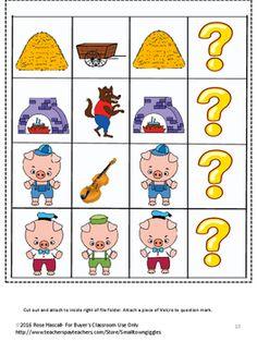 Distance Learning Three Little Pigs File Folder Games Special Ed Kindergarten Fairy Tale Activities, Math Activities, Preschool Kindergarten, Preschool Crafts, Three Little Pigs Story, Matching Shapes, File Folder Games, Learning Shapes, Book Study