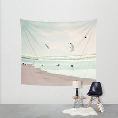 take off Wall Tapestry by Sylvia Cook Photography | Society6 #homedecor #tapestry #walltapestry #beach #ocean #nautical #landscape #seagulls #coastal