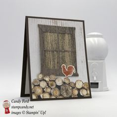"""Rooster in the wood pile on this card for a friend, using Wood Textures Suite by Stampin' Up! Wood Words stamp set, Wood Crate Framelits, Hearth & Home Thinlits, 5/8"""" Burlap Ribbon #stampcandy"""