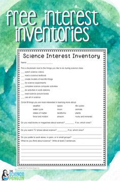 Back to School Interest Inventories- Science, Social Studies, Math and Reading