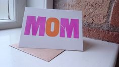 MUM MOM letterpress birthday greetings card (blank inside) £3.00