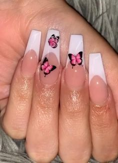 Butterfly Nail Designs, Butterfly Nail Art, Cute Acrylic Nail Designs, Nail Art Designs, White Tip Acrylic Nails, Acrylic Nails Coffin Short, Summer Acrylic Nails, White Nails, Long Gel Nails