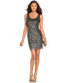 GUESS Sleeveless Metallic Fringe Sheath - Juniors Dresses - Macy's