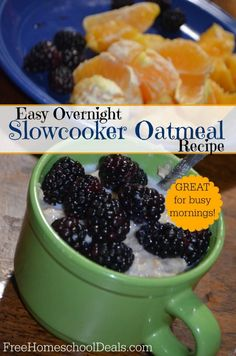Easy Overnight Slowcooker Oatmeal Recipe - great for busy mornings!
