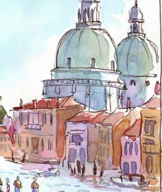 x ink & watercolor in Stillman & Birn Beta series sketchbook As I rode the train from Vicenza to Venice on Day 9 of my Italia. Watercolor Sketch, Watercolor Illustration, Watercolor Paintings, Watercolors, Sketch Art, Art Journal Inspiration, Painting Inspiration, Art Inspo, Artist Sketchbook