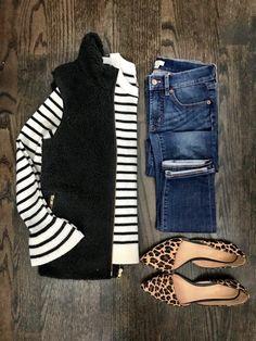 IG: @mrscasual | Stripe top, black vest, jeans, & leopard flats