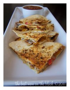 Chicken Quesadilla's with roasted peppers and onions