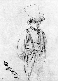 Carl Spitzweg, frontal stehender Schusterbub mit Zylinder, ca. 1840