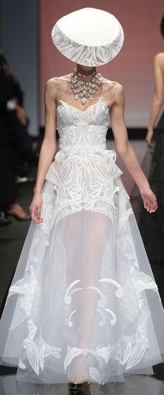 Gattinoni SS 2013 Haute Couture - White embroidered chiffon long evening dress