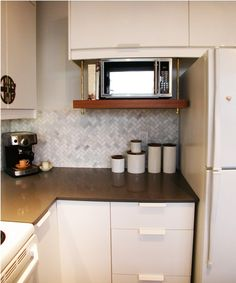 Hanging shelf for microwave | Qanuk Interiors - as seen on Steven & Chris