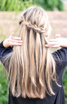 "Partial French Braid and Cascading Hair Tutorial, also known as the ""Waterfall Braid."""