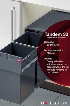 TANDEM 30 2 X 15 LITRE CAPACITY Designed to be withdrawn from the cabinet whilst the lid lifts and remains in the cabinet Waste Solutions, Storage Solutions, Kitchen Items, New Kitchen, Kitchen Waste, Kitchen Upgrades, Kitchen Essentials, Tandem, Kitchen Interior