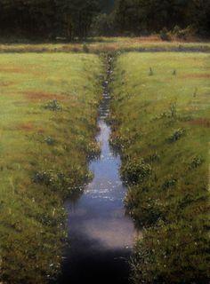 Plein Air, Study of a Cranberry Bog by joseph mcgurl Oil ~ 12 x 9