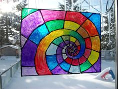 Rainbow Spiral Window Cling Suncatcher Stained by Dare2beUNIQUE