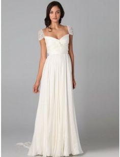 A-Line/Princess Sweetheart Beading Short Sleeves Sweep/Brush Train Chiffon Dress - A-Line Dresses - Wedding Dresses - CDdress.com
