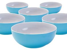 Cayne's The Super Houseware Store::Tableware::Patio Ware Or Not!::MELAMINE SUMMERY SET OF 6 BOWLS - TURQ