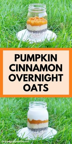 Overnight oats for clean eating breakfast. Cinnamon pumpkin banana overnight oats with chia seeds and with coconut milk. Easy healthy breakfast ideas with oatmeal recipes. Or make with almond milk and with or without yogurt for vegan breakfast. Clean Eating Oatmeal, Healthy Oatmeal Breakfast, Fall Breakfast, Clean Eating Breakfast, Healthy Breakfast Recipes, Breakfast Ideas, Healthy Recipes, Eating Healthy, Healthy Snacks