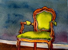 """""""Lucscious Lime"""" by Helen K. Beacham, watercolor with pen & ink on Italian-made Fabriano 140# paper, 4"""" x  6"""" 