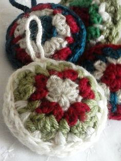 Crocheted Christmas Baubles. Set of five pretty hand made decorations for your Christmas tree. by Wightstitches, $16.00 USD