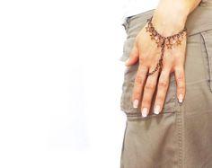 Star Slave Bracelet, Hipster Bronze Chain Bohemian, Two Strand Ring Finger Hand Jewelry, Ring bracelet,