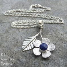 Lapis Lazuli Flower and Leaf Sterling Silver Pendant - Gemstone Floral Jewellery £60.00