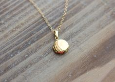 Gold Locket Necklace Tiny Round Etched by SimplySweetStudio