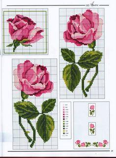 Cross-stitch Roses part 3 Cross Stitch Heart, Cute Cross Stitch, Cross Stitch Borders, Cross Stitch Flowers, Cross Stitch Designs, Cross Stitching, Cross Stitch Embroidery, Hand Embroidery, Cross Stitch Patterns