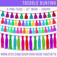 Tassels Clip Art, Tassels Bunting, Tassels Graphics, Tassels Digital Art Download, Colorful Tassles PNG Files, Digital Scrapbooking Elements