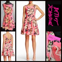 """BETSEY JOHNSON Short A-Line Floral Shift Dress NEW WITH TAGS  RETAIL PRICE: $158  BETSEY JOHNSON Short A-Line Floral Shift Dress   * Fit-and-flare style w/side zip closure   * Floral print; Lined   * Semi-flared skirt w/partial tulle under slip & cutout back detail    * Approx 36"""" long;Tagged size 8 (M) will approx fit sizes 6-8  * Scoop neck front  * Vintage style, Prom Party Cocktail Fabric: 100% Polyester Color:Pink Multi # Pastel  No Trades ✅ Offers Considered*/Bundle Discounts✅  *Please…"""