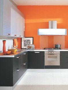 orange walls in kitchen