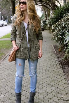 Love the army jacket and boyfriend pants!! And love with booties!!